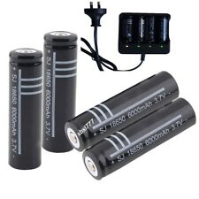 4x 3.7V Li-ion 18650 Rechargeable Battery + Smart Charger for LED Flashlight US