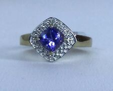 Size 7 AA Tanzanite & Diamond Gold Plated Sterling Silver Ring TGW 1.14 cts