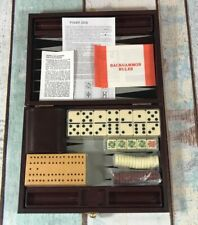 Travel Backgammon Poker Dice Dominos Cribbage Game 4 In 1 Leatherette Brief Case