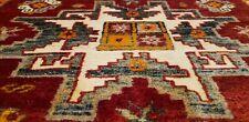 Masterpiece Late 1920's Antique Vivid Henna Dye Wool Pile Runner Rug 4'x12'2''