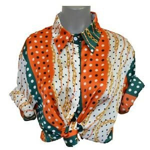 Versace Vintage Savage Baroque Free Size Orange With Chain Long Sleeve T Shirt