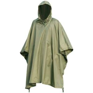 RIP-STOP WATERPROOF WINDPROOF PONCHO/BASHA army olive military hooded jacket
