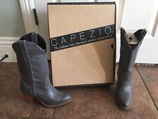 Vintage 1970's Leather Capezio L702 Grey 6M Western Fashion Cowboy Boots