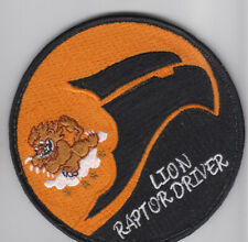 PATCH USAF F-22 59th TES LION RAPTOR DRIVER VEL BACK PARCHE
