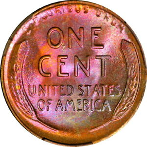 1935-D Wheat Cent PCGS MS66 RB Rainbow Toned Highest Graded