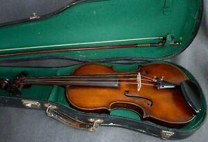 alte 4/4 Geige Violine mit Bogen und Koffer Zettel: Joannes Uldalricus 1820