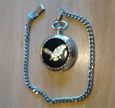 Vtg Calvin Hill Eagle pocket watch, running new battery, watch chain, NR H