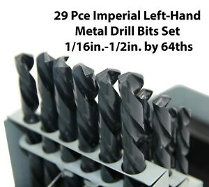 29 Piece Imperial Left-Hand Metal Drill Bits Set 1/16in.-1/2in. by 64ths