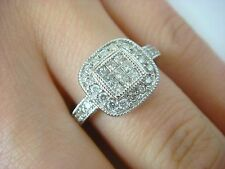 EXQUISITE, INVISIBLE SET PRINCESS CUT & HALO DESIGN, DIAMOND LADIES RING, 3.8 GR