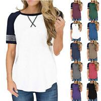 New Women Splice Loose Casual Short Sleeve T Shirt Blouse Crew Neck Summer Tops