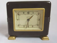 Seltene Art Deco Tischuhr Wecker Bakelit Goldbühl Spardose Sparbüchse 1930/40er