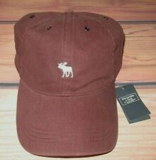 MENS ABERCROMBIE & FITCH MOOSE MAROON ADJUSTABLE DISTRESSED HAT CAP ONE SIZE