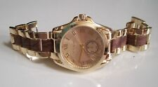 Women's Fashion Gold Finish With Wood Look Boyfriend Inspired Wrist  Watch