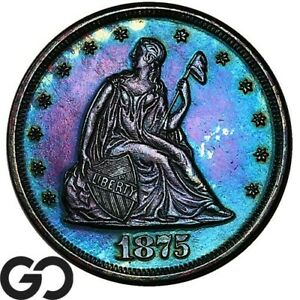 1875 Twenty Cent Piece PROOF, Deeply Toned Scarce PR, Only 1200 PF Minted!