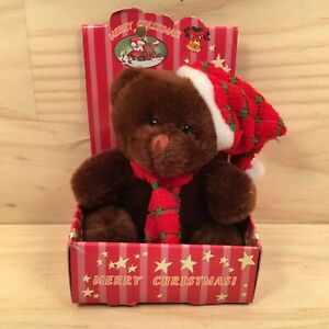 "CHRISTMAS BEAR ""Choc Brown"" Gorgeous Festive Mini Plush Teddy Bear Soft Toy"