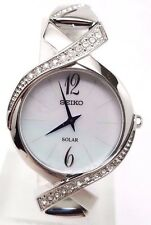 Seiko Women's Stainless Steel Crystal Bracelet Mother of Pearl Dial Watch SUP263