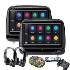 "9""In Car Monitor DVD Player Headrest w/ Cover+2 IR Headphones Games Black 1Pair"
