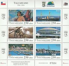 Chile 2014 Sheetlet 6 stamps 250 years Talcahuano + Brochure