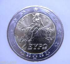 Greece 2 euro  2002 Abduction of Europe by Zeus  KM# 188  UNC From Roll