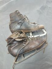 Vintage Childs Leather Ice Hockey Skates Used CC & M Co.