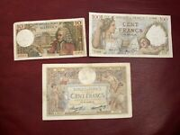 LOTTO 3 BANCONOTE BANCA DI FRANCIA 10 FRANCHI 1971 100 FRANCS 1935 1940