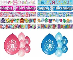 AGE 8 BIRTHDAY BANNERS PARTY DECORATIONS PINK BLUE MULTI DECORATIONS
