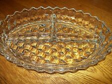 Beautiful Old  Fostoria American Divided 3 pt Oval Relish Bowl Excellent