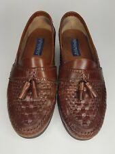 Giorgio Brutini Le Glove Men's Brown Woven Moc Toe Leather Tassle Loafer sz 10 M