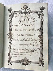 18th C  Handwritten Manuscript Geometry Mathematics book King Jose I Illustrated