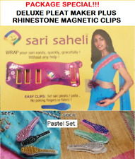 SARI SAHELI DELUXE PLEAT MAKER WITH 2 MAGNETIC CLIPS + 3 RHINESTONE CLIPS