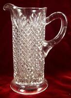 Shepherds Plaid Tankard Pitcher Clear Glass EAPG Ohio Flint Glass Pineapple (O2)