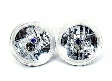 """7"""" Tri Bar with Blue Dot Headlight with LED Halo Ring Design H4 Blub 12V by Pair"""