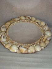 """Vintage Cottage Chic Seashell Wall Mirror Kitchy & Beachy 9-1/2"""" Round vgc"""