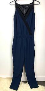 Karen Millen sz 10 Navy Blue Green Teal Women Jumpsuit Pantsuit Pockets Work