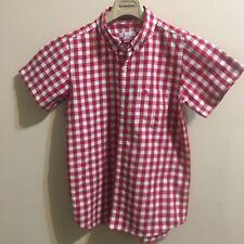 Burberry Boys Short Sleeve Shirt, Size 10, Red & White.