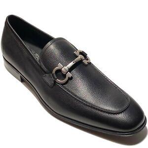 Ferragamo Gancini Bit FLORI 10.5 EE Black Pebbled Leather Men's Dress Loafers