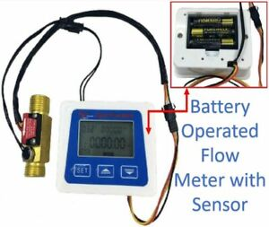 Battery Powered Operated Digital Hall Flow Meter with Sensor Liquid Gallon Litre