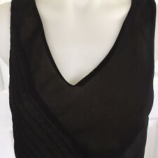 Designer ELLEN TRACY Black Formal Asymetrical Top Blouse Size 10 Sleeveless