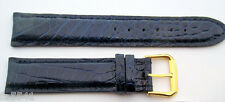Genuine ALLIGATOR watch band Dark Navy color 19 mm Padded/Stitched Made in ITALY