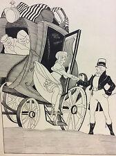 Encre charmante arrivée anonyme milieu XXe Diligence carrosse transport