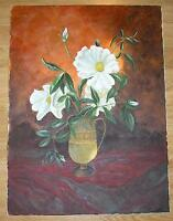 GARDEN FLOWERS WHITE PEONIES CHEROKEE ROSES GOBLET VASE BOTANICAL STILL PAINTING