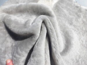 sheepskin shearling leather hide silky hair Silver w/matching smooth back