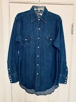 Wrangler Denim Western Jean Pearl Snap Button Front Shirt Long Tails Sz 16/33