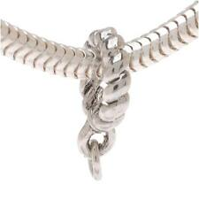 Silver Tone Twist Spacer Bead Charm Bail - European Style Large Hole - 10mm (1)