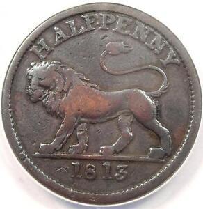1813 British Copper Company Halfpenny Lion Token Galata 610-12 - ANACS F15