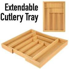 Wooden Bamboo Drawer Utensil Organizer Expandable Cutlery Utility Tray Holder