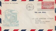 1941 USA cover First Air Mail Flight New York to Bolama with stamp Scott C22