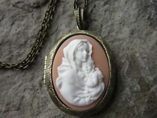 VIRGIN MARY & BABY JESUS CAMEO BRONZE LOCKET - RELIGIOUS -EASTER -CHRISTMAS, P