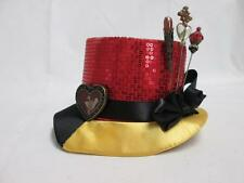 DISNEY QUEEN OF HEARTS YELLOW RED SEQUIN SATIN RIBBON MINI TOP HAT VILLAINS