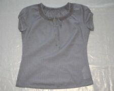 ! TAIFUN Bluse BW Smok Khaki Weiß Gr. 36 - wie NEU